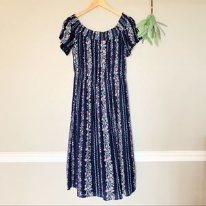 OLD NAVY Off The Shoulder Navy Floral Midi Dress